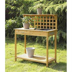 Convenience Concepts Designs2Go Lattice Potting Bench in Light Oak