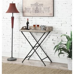 Folding Serving Bar Table in Black