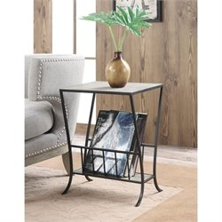 Magazine End Table in Wood and Black