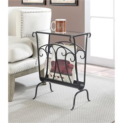 Wrought Iron Glass End Table in Black