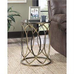 Round Accent End Table in Golden
