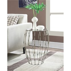 Round Mirror Accent Table in Pewter