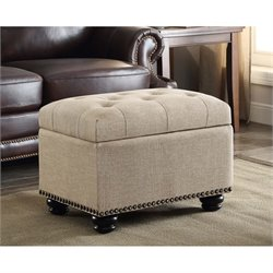 5th Avenue Storage Ottoman in Tan