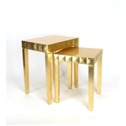 Wayborn 2 Piece Nesting Table Set in Gold Leaf