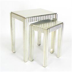 Wayborn Sienna 2 Piece Nesting Table Set in Silver Leaf
