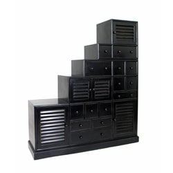 Wayborn Tonsu Step Cabinet in Antique Black