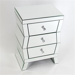 Wayborn Beveled Mirrored 3 Drawer End Table