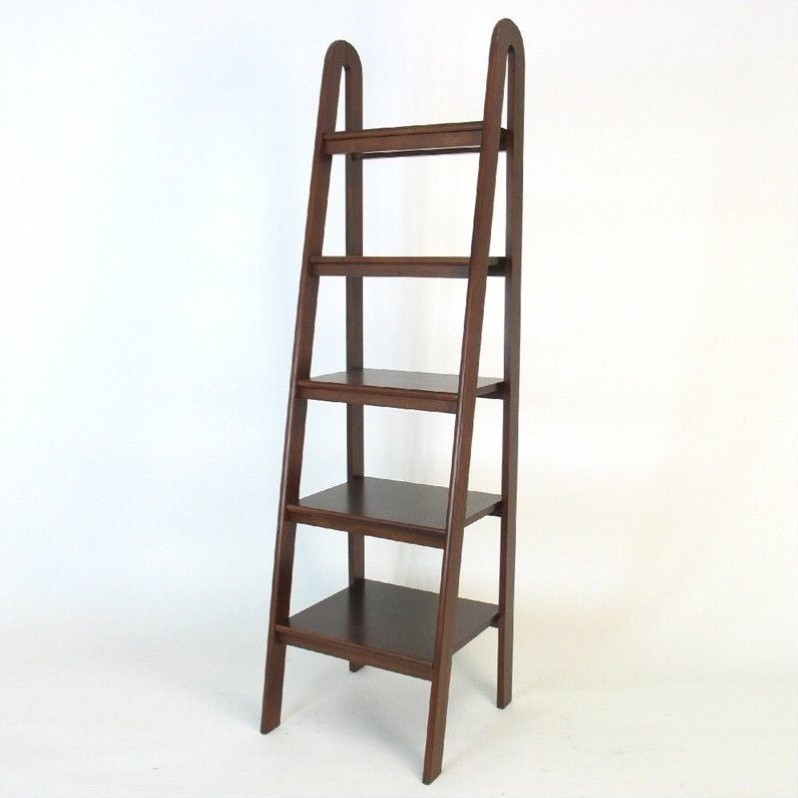 Basswood 5 Tier Ladder Bookcase in Brown