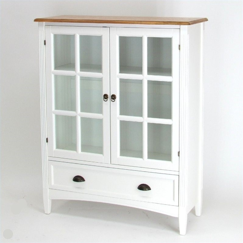 1 Shelf Barrister Bookcase with Glass Door in White