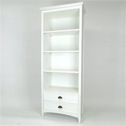 3 Shelf Bookcase with Drawers in White