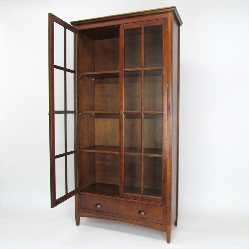 Barrister Bookcase with Glass Door in Brown