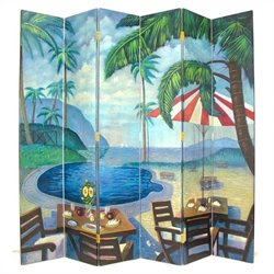 Hand Painted 6 Panel Palm Beach Room Divider