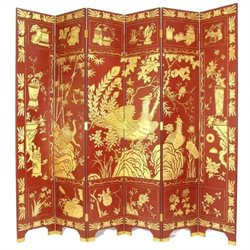 Phoenix Room Divider in Red and Gold