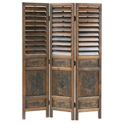 Chinese Oakwood Louver Room Divider in Walnut