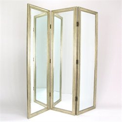 Mirror with Frame Full Size Dressing Room Divider in Silver