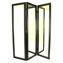 Mirror with Frame Full Size Dressing Room Divider in Black