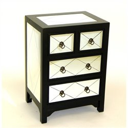 Mirror 4 Drawer Accent Chest in Black