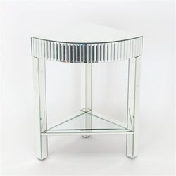 Pine Wood Beveled Mirror Corner Table