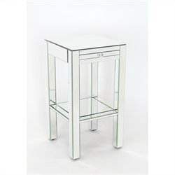 Pine Wood Beveled Mirror Side Table