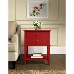 2 Drawer Accent Table in Red