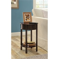 Round End Table in Espresso