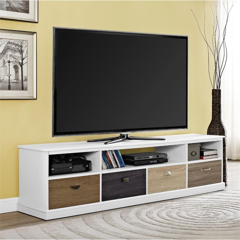 65 tv stand in white 1773096pcom for Living room with 65 inch tv