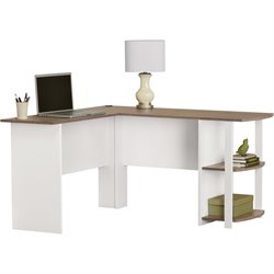L Shape Desk in White and Sonoma Oak