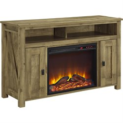 50'' Fireplace TV Stand in Light Pine