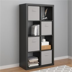 Hollow Core 8 Cubby Bookcase in Black