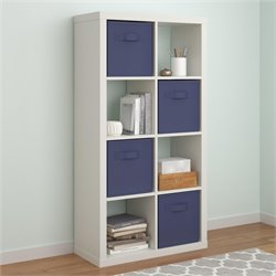 Hollow Core 8 Cubby Bookcase in White