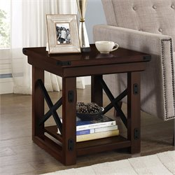 Wood Veneer End Table in Mahogany