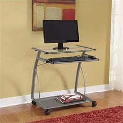 Easy2Go Glass Top Metal Computer Cart in Silver