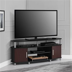 50'' Corner TV Stand in Black and Cherry