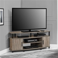 50'' Corner TV Stand in Distressed Gray Oak