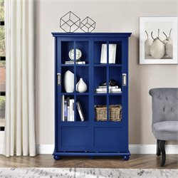 Bookcase with Sliding Glass Doors in Navy