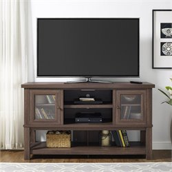 70'' TV Stand with Glass Doors in Medium Oak