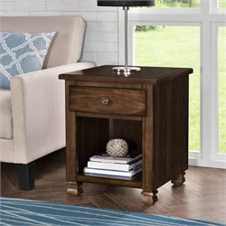 Wood Veneer End Table in Espresso