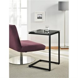 Glass Top C End Table in Black
