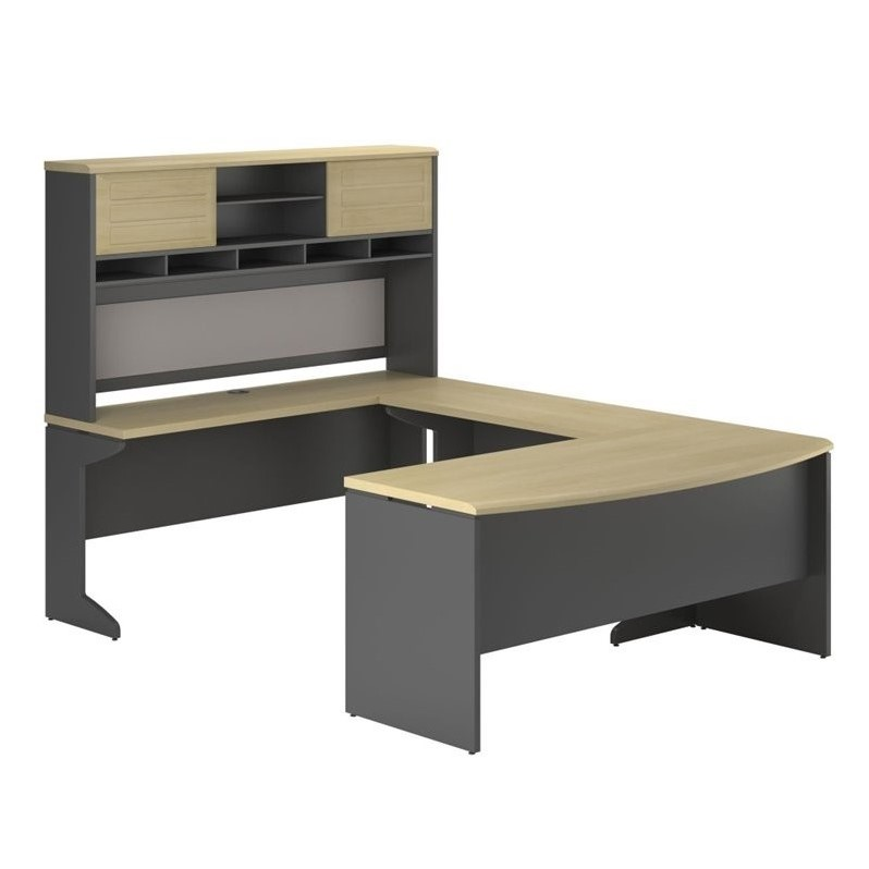 U Shape Computer Desk In Natural And Gray 9347196