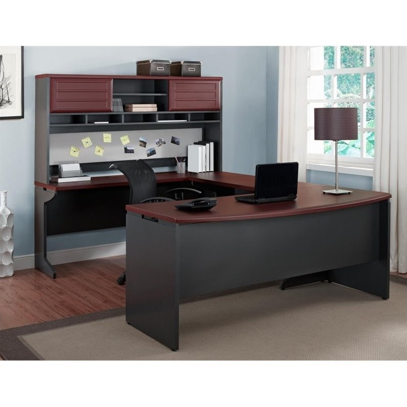 U Shaped Office Set in Cherry and Gray
