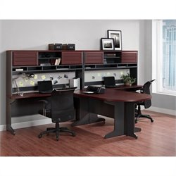 7 Piece Office Set in Cherry and Gray