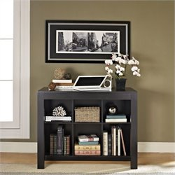 Desk with Drawer and Bookcase in Black Oak