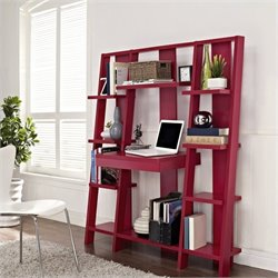 Altra Furniture Ladder Bookcase with Desk in Red Finish