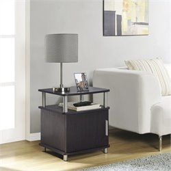 Carson End Table with Storage in Espresso Finish