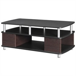 Carson Coffee Table with Storage in Cherry and Black