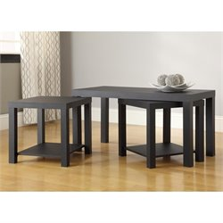 3 Piece Coffee and End Table Set in Black
