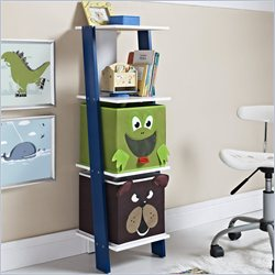 Ladder Bookcase with 2 Bins in White and Blue