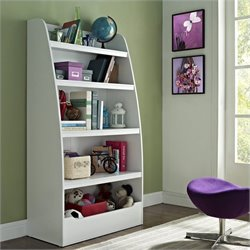 Kids 4-shelf Bookcase in White Finish