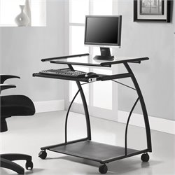 Mobile Computer Cart and Desk in Black Finish