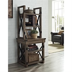 Rustic Audio Pier Bookcase with Metal Frame